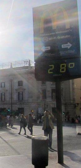 Termómetro en Valencia, este domingo