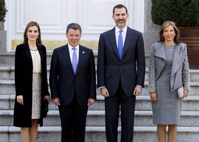 La reina Letizia y Felipe VI reciben al predsidente de colombia