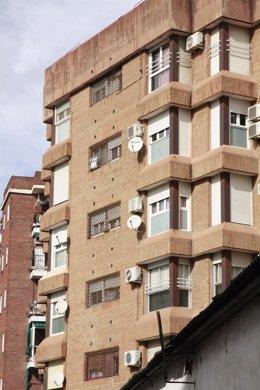 Edificio, bloque, aires acondicionados