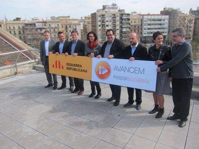 Marta Rovira (ERC) y Joan Ignasi Elena (Avancem) con candidatos municipales