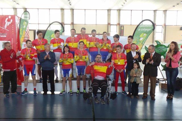 Equipo paralímpico español ciclismo pista