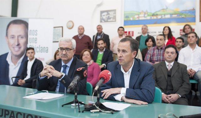 Jiménez Barrios y José María Román, candidato del PSOE a la Alcaldía de Chiclana