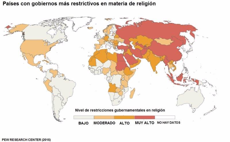 ¿Qué países son más restrictivos con la religión?
