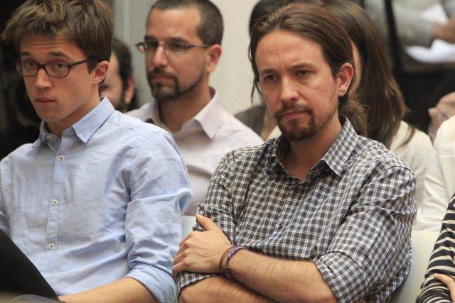 Pablo Iglesias y Errejón en la rueda de prensa de Monedero
