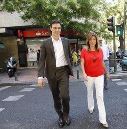 Pedro Sánchez y Susana Díaz en Ferraz