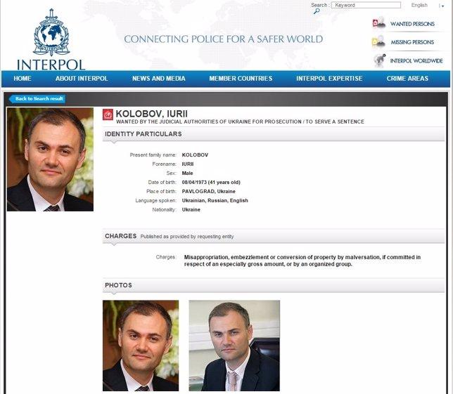 Alerta de Interpol sobre Yury Kolobov