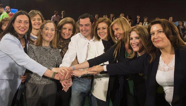 Isabel García Tejerina, Ana Pastor, Fátima Báñez, Juanma Moreno y Cospedal