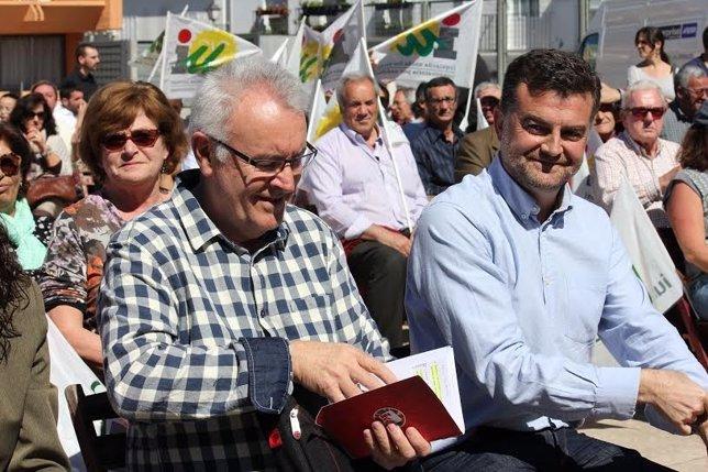 El candidato de IU a la Junta, Antonio Maíllo, y Cayo Lara.
