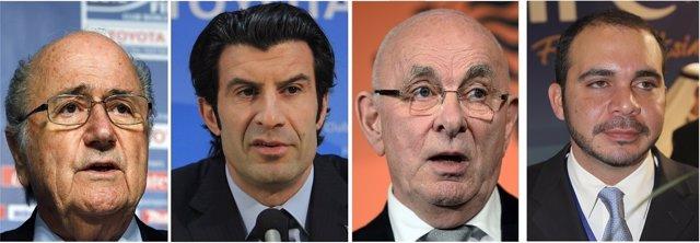 Joseph Blatter, Luis Figo, Michael van Praag y Ali bin Al Hussein