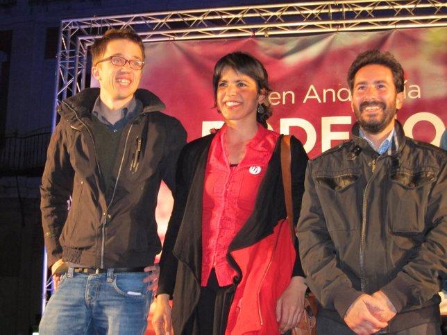 Errejón, Rodríguez y el cabeza de lista de Podemos por Córdoba, David Moscoso