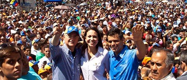 Los opositores Antonio Ledezma, María Corina Machado y Leopoldo López