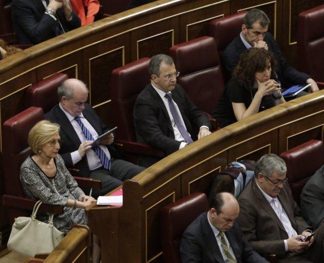 Rosa Díez y los diputados de UPyD, en el hemiciclo