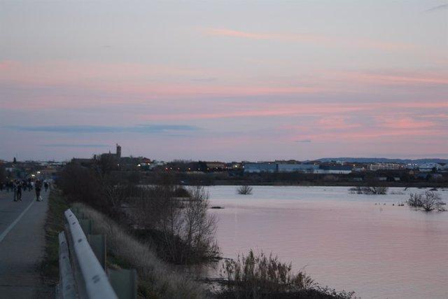 Crecida del río Ebro a su paso por Alagón