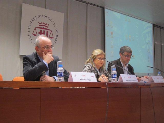 X.Campà (Fund.X.S.Gavina), R.M.Barberà (Icab) y S.Busquets (Cáritas)