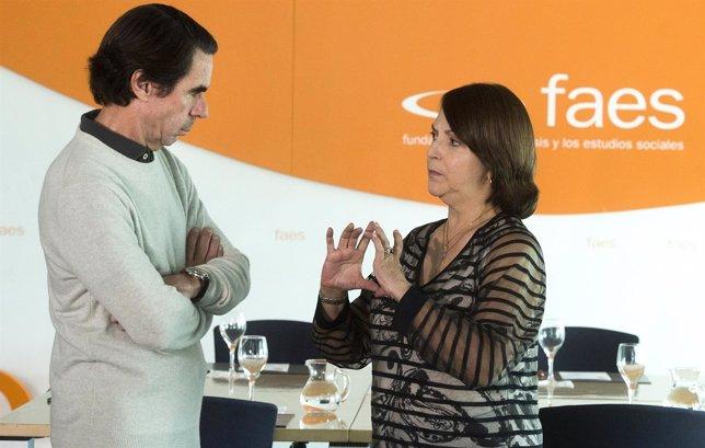 El ex presidente José María Aznar y la mujer del alcalde de Caracas