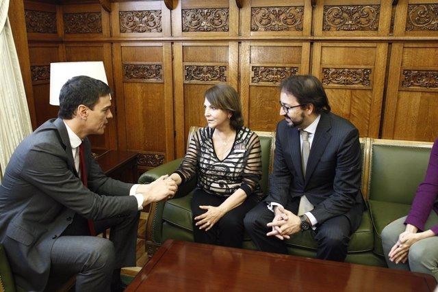 Pedro Sánchez se reúne con Mitzy Capriles, esposa de Antonio Ledezma