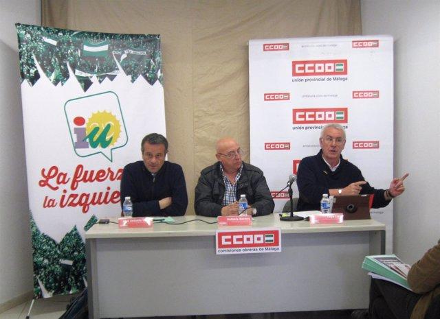 José Antonio Castro, Antonio Herrera y Cayo Lara en Málaga