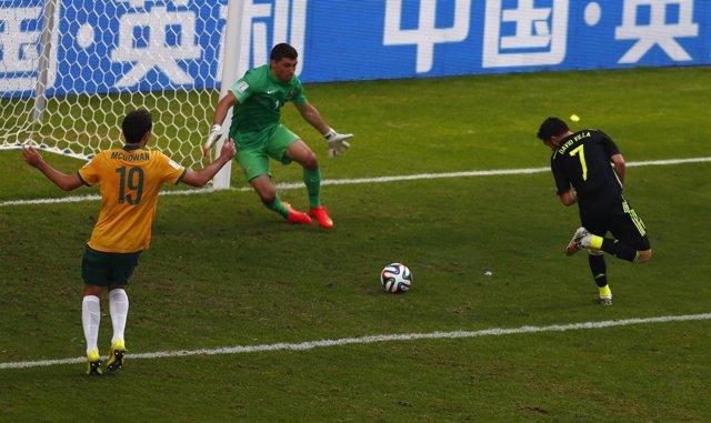 David Villa marca en el España - Australia