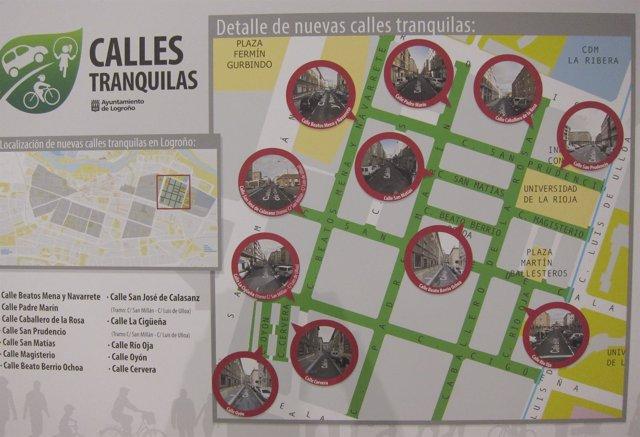 Mapa de la primera actuación de las 'Calles tranquilas'
