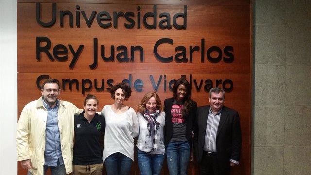 Patricia García, Raquel Corral y Aauri Bokesa en la URJC
