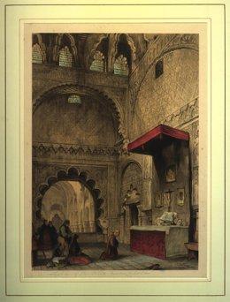 Grabado de 1836 de la Capilla de Villaviciosa