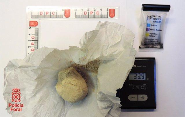 Los 34 gramos de heroína decomisados.