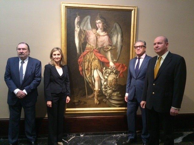 Sebastián y Pineda ante una de las obras expuestas en Bilbao