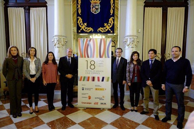 De la Torre y patrocinadores en la presentación del Festival de Cine de Málaga