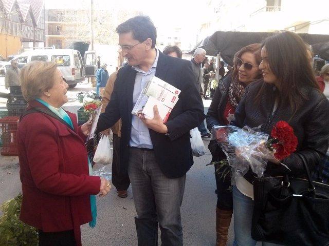 El secretario del PSOE de Almería, José Luis Sánchez Teruel, en Albox