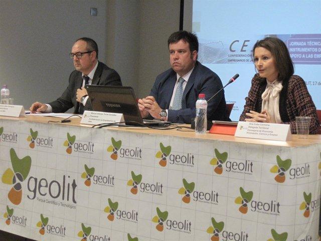 Galán, Torres y Cobo en la jornada sobre instrumentos de apoyo a la inversión.