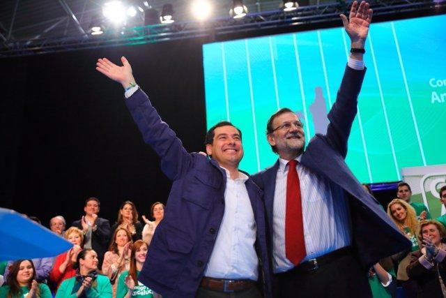 Moreno y Rajoy, en un mitin en Málaga