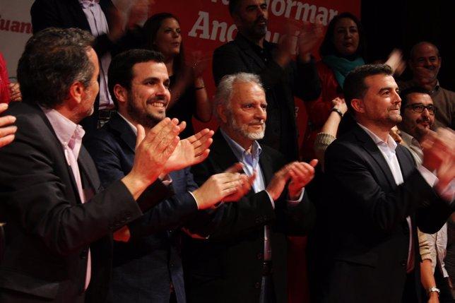 Garzón, Anguita y Maíllo, en un mitin de campaña