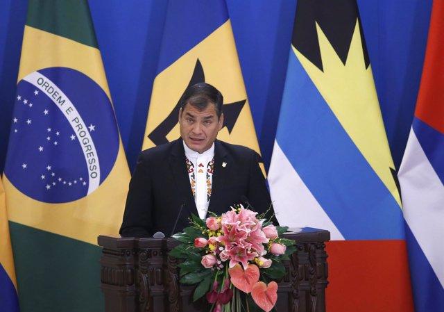 El presidente de Ecuador, Rafael Correa en China