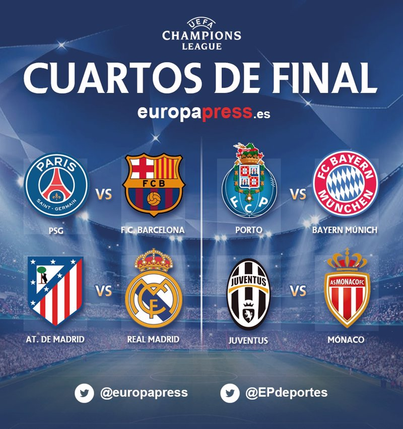 Sorteo Champions League 2015: Atlético-Real Madrid y PSG-Barcelona ...