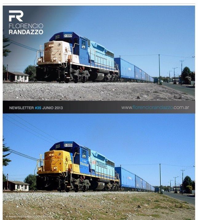 Florencio Randazzo, utilizó la foto de un tren chileno trucada