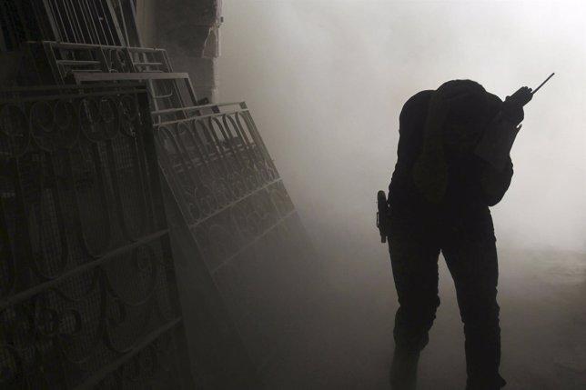 Un combatiente en Siria