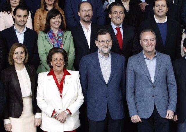 Cospedal, Barberá, Rajoy y Fabra en el acto del PP en Valencia