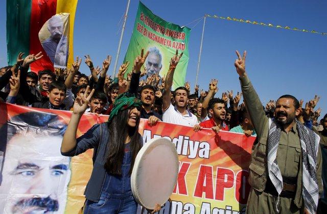 Manifestación kurda en Sanliurfa, Turquía