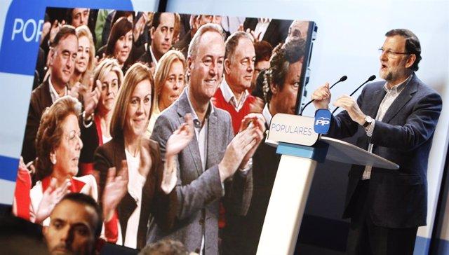 Rajoy interviene en el acto del PP celebrado en Valencia