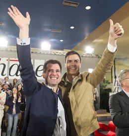 Tudanca y Sánchez en la jornada de Puebla de Sanabria