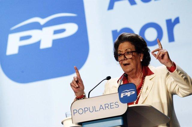Rita Barberá en el acto en que ha sido proclamada candidata