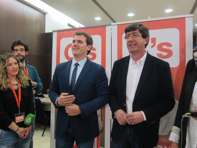 Albert Rivera y Juan Marín, en la tarde electoral