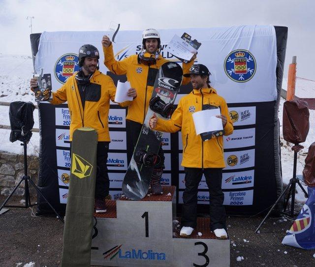 Lucas Eguibar y Ana Amor campeones de España de snowboard cross SBX en La Molina
