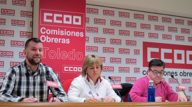 Responsables de CCOO en rueda de prensa
