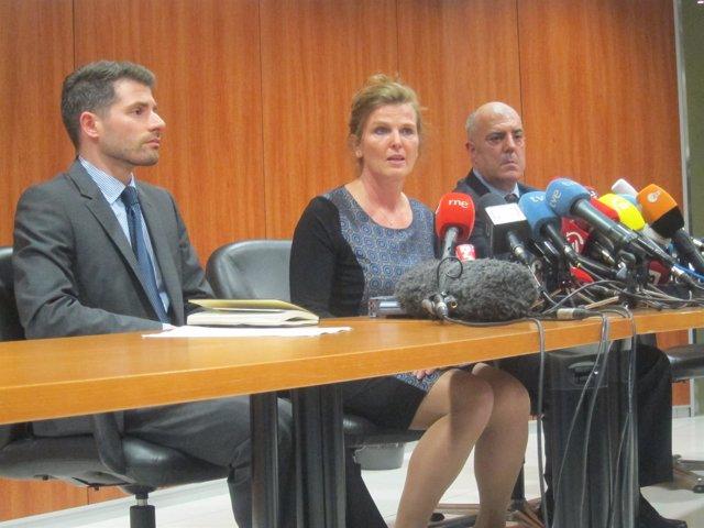 La vicepresidenta de Lufthansa, Heike Birlenbah, en rueda de prensa el martes