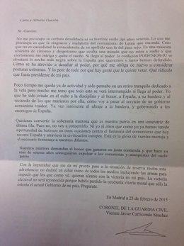 Carta recibida por Alberto Garzón