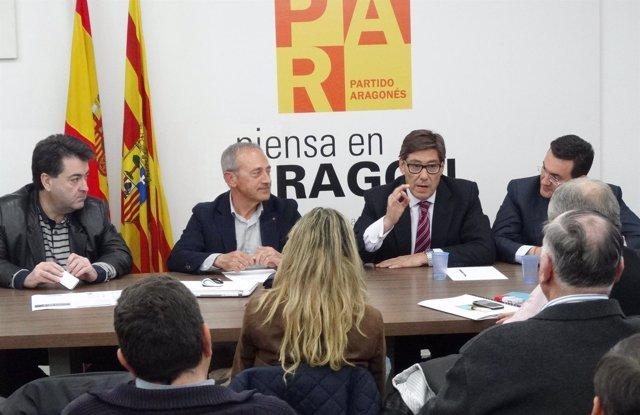 Arturo Aliaga en el Comité Intercomarcal del PAR de Huesca.