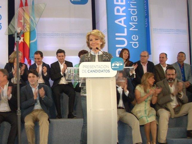 Esperanza Aguirre, en el acto de precampaña de Pinto