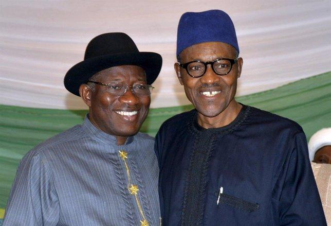 Goodluck Jonathan y Muhamadu Buhari, candidatos a la presidencia