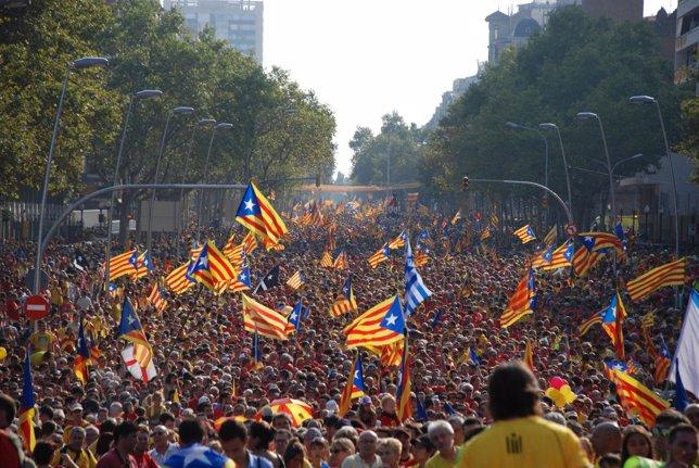 Asistentes a la V de la Diada este jueves en Barcelona